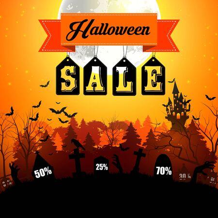 Vector illustration of Halloween sale web banner with terrible graveyard on orange background
