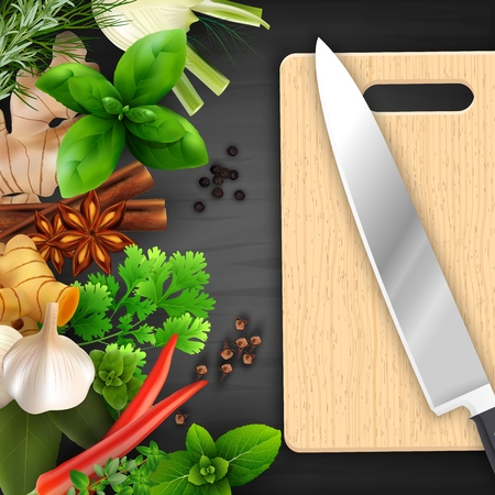 Spices and herbs with cutting board and knife