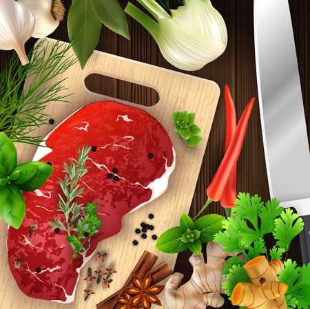Spices and herbs and meat with cutting board and knife