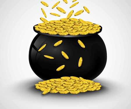 Gold coins falling in black pot