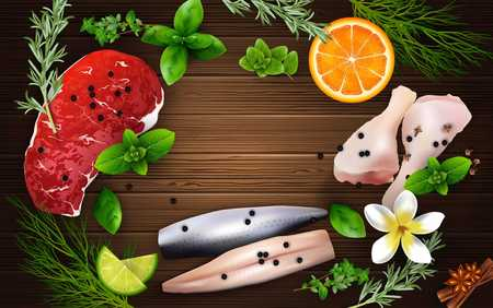 oregano: Spices and herbs with meat and chicken on the wooden background Illustration