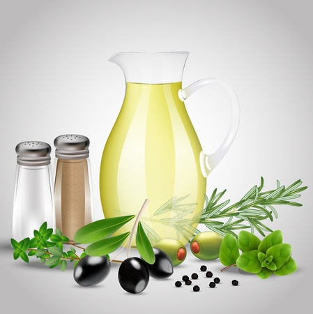 Spices and herbs with a glass oil bottle Stock Photo