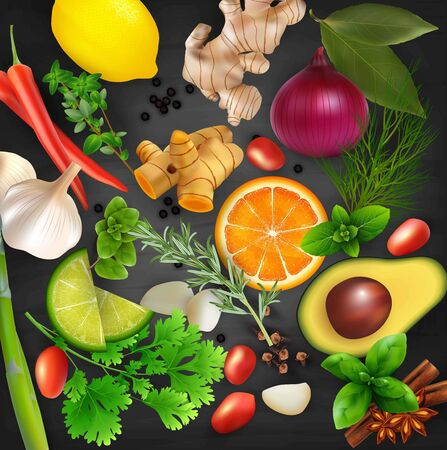 Spices, condiments and herbs with fruits on the blackboard chalk background