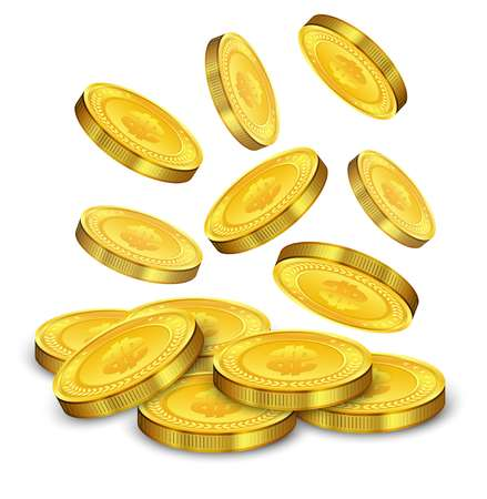 Gold coins falling