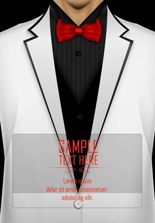 White tuxedo with red bow tie
