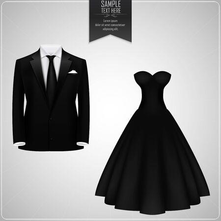 dress suit: Black groom suit and black bridal gown