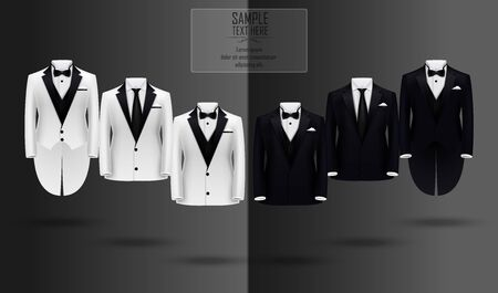 Set of black and white suits Stock Photo