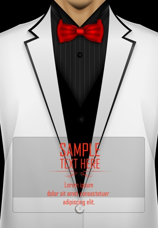 White tuxedo with red bow tie