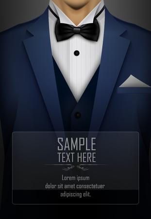 smoking azul con corbata de lazo negro
