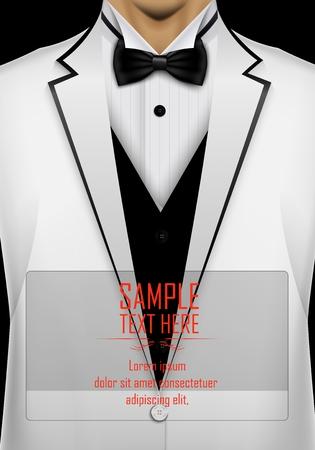 esmoquin blanco con corbata de lazo negro