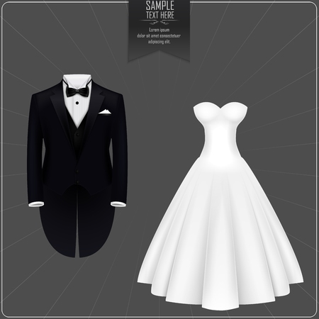 Smoking y vestido de novia