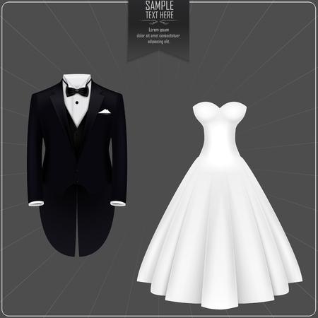 Smokingi i suknia ślubna