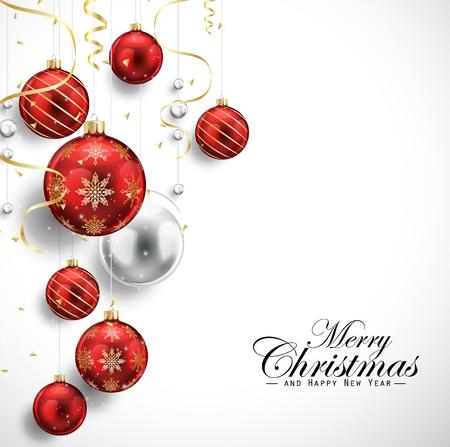 Vrolijk Kerstfeest en Gelukkig Nieuwjaar kaart met rode ballen en gouden slingers Stock Illustratie