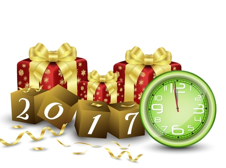 New year background with clock, gifts boxes and brown cubes