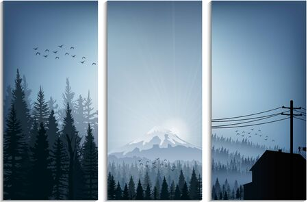 hill distant: Set of banner forest trees silhouettes landscape