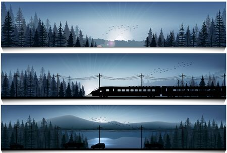Horizontal banners with the high speed train and cars on landscape forest background Stock Photo