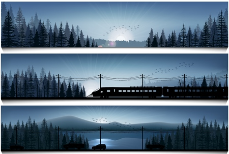 lake sunset: Horizontal banners with the high speed train and cars on landscape forest background Illustration