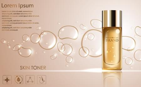 Cosmetische advertenties sjabloon met gouden fles collo