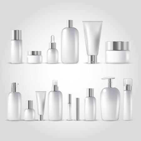 Lokalisierter Satz des kosmetischen Flaschenspottes lokalisierte auf weißem Hintergrund Standard-Bild - 71478847