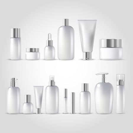 Cosmetic bottle mock up set isolated packages on white background