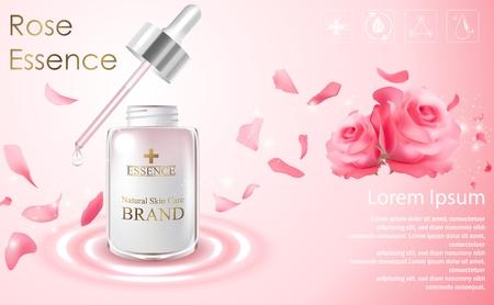 Annunci Cosmetic modello con bottiglia di essenza e la rosa rossa su sfondo rosa chiaro Archivio Fotografico - 71478852