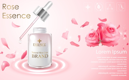 Cosmetic ads template with essence bottle and red rose on light pink background