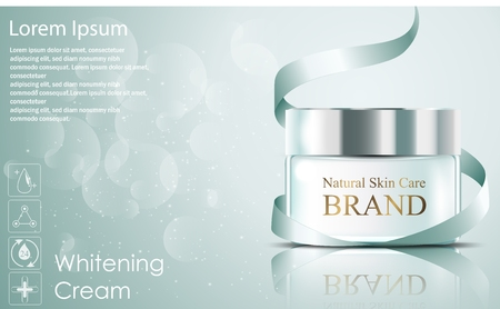 moisturizing: Beautiful hydrating facial cream cosmetic ads with green ribbon on bubble background