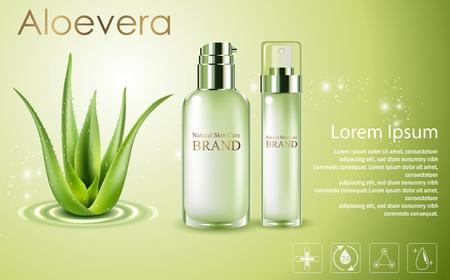 Aloe vera cosmetic ads, green spray bottles with aloe vera Vectores
