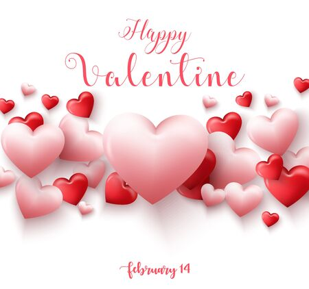 Happy Valentine\'s Day Card Template With Pink And Red Heart ...
