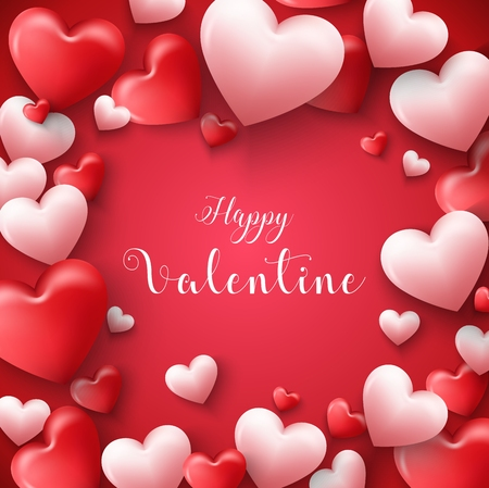 Happy valentines day frame background with hearts balloon in red background