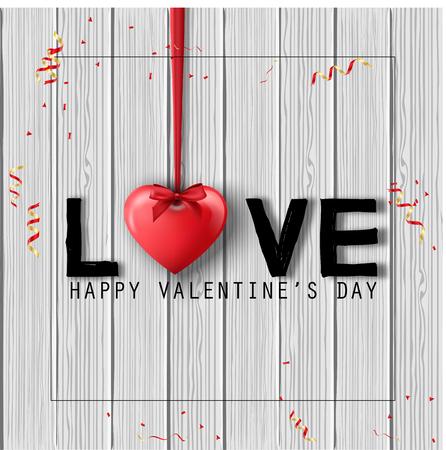 ahorcada: Fondo feliz día de San Valentín con corazones y lazos colgados aislados en la textura de madera