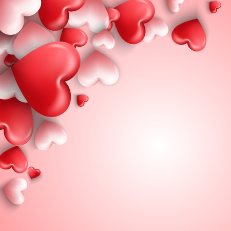 Happy valentines day background with hearts balloon in pink background Illustration