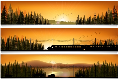horizon over land: Horizontal banners with the high speed train and cars on landscape forest background Stock Photo