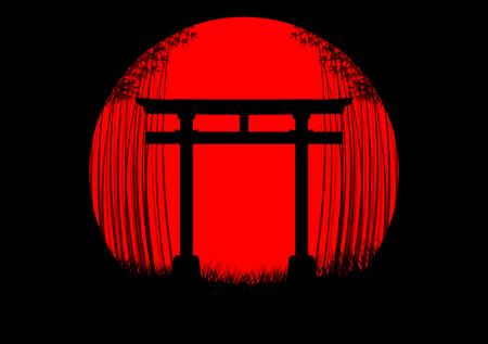Fond de forêt de bambous dans le lever du soleil japonais avec la silhouette noire et la porte japonaise