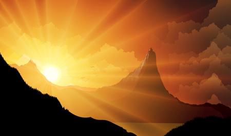 12,099 Mountain Sunset Stock Vector Illustration And Royalty Free ...
