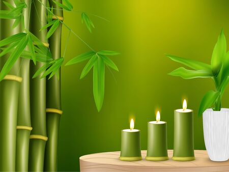 lucky bamboo: Spa background with bamboo and candles