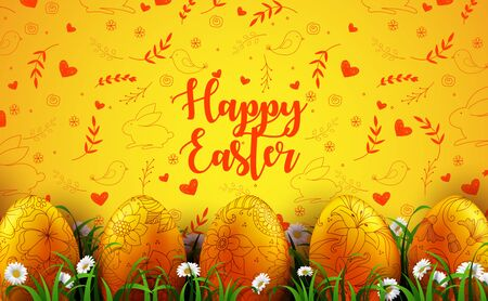 Vector illustration of Bright yellow background with realistic eggs and daisy flowers in the grass