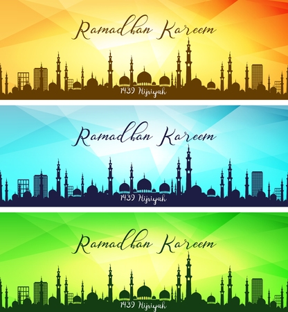 Set of ramadan kareem banners Illustration