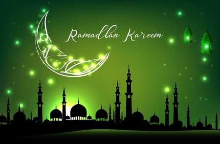 Beautiful mosque with moon on green sky background Illustration