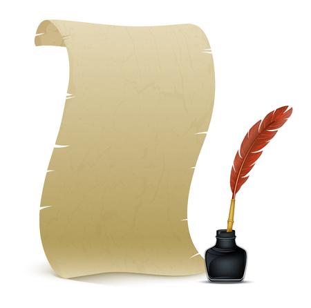 羽とインク壺と古代の羊皮紙のベクトル図  イラスト・ベクター素材