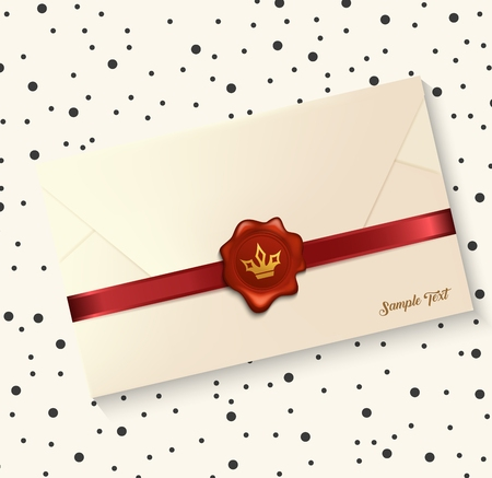 sealing wax: Vector illustration of Envelope with red wax seal