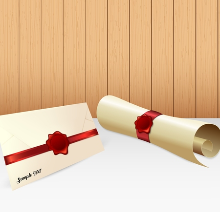 Vector illustration of Envelope with paper scroll and red wax seal Illustration