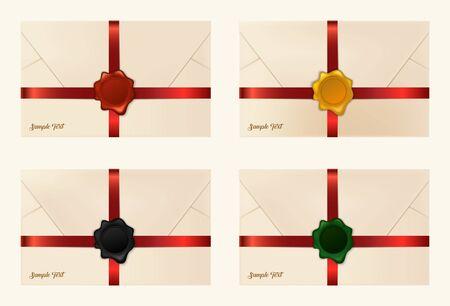 sealing: Set of wax sealed envelopes