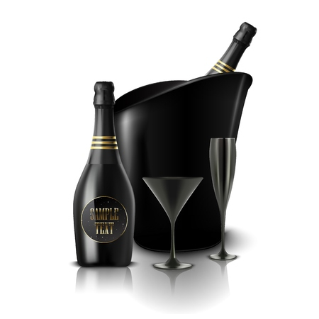 Vector illustration of Glass of black wine and a bottle of champagne in a bucket Illustration