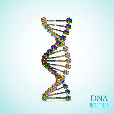 virus cell: Vector illustration of Colorful DNA background
