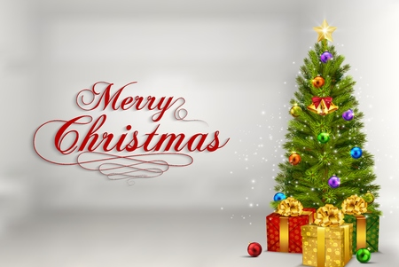 Vector illustration of Christmas tree with gifts