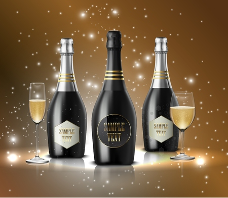 Vector illustration of Wineglass with black wine bottles of champagne on sparkling background