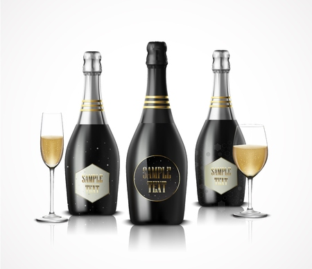 white wine: Vector illustration of Wineglass with black wine bottles of champagne Illustration