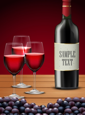 Three glasses red wine with Bottle of champagne and grapes fruits Stock Photo