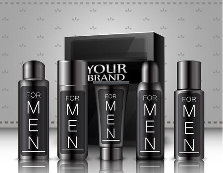 toner: Set of men cosmetics package Stock Photo